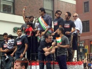 American College Cricket players on ESPN float with Anil Kumble in NYC, with T20 World Cup Trophy