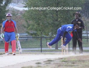 Adrian Gordon (NYU-Poly) at the 2011 American College Cricket North East Regional - the first cricket ever televised in the USA & Canada