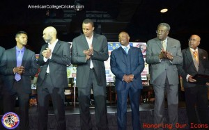 Shiv Chanderpaul becoming the first Inductee in the American College Cricket Hall of Fame,seen with legends Jimmy Adams, Courtney Walsh, Brian Lara & Clive Lloyd plus Lloyd Jodah