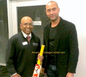 NY Yankees' & baseball all time great Derek Jeter with Lloyd Jodah, American College Cricket President, recently