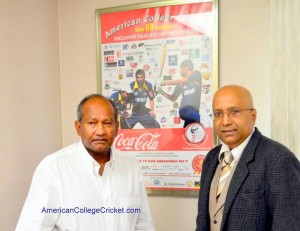 Alvin Kallicharran, world's best batsman of the 1970s, with Lloyd Jodah, American College Cricket President, at TV Asia studios