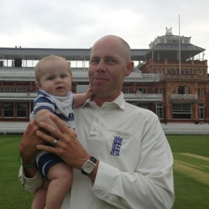 Umpire Billy Taylor, taking his son for the first time to Lord's