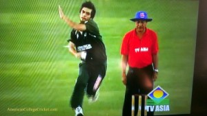 Abdullah Sheik (USF) bowling, taken off of TV Asia's telecast. Umpire is Max Diah