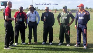 Spinning the Toss at the Finals of the American College Cricket National Championship, on ESPN3 & TV Asia. Auburn's Captain Abhishek Kulkarni, USF's Capain Sai Ramesh, 2011 MVP Adrian Gordon with Lloyd Jodah & Umpires Billy Taylor (from the ECB)& Sylvan Taylor