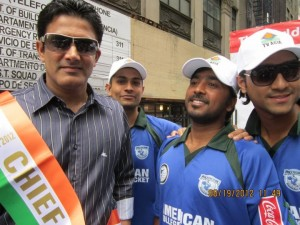 Anil Kumble with American College Cricket players on the ESPN float prior to the 2012 T20 World Cup