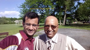 current Home & Away highest scorer Fahad Mahmood, 169* with Lloyd Jodah, Founder & President of American College Cricket