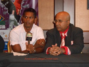 Shiv Chanderpaul & Lloyd Jodah announcing the launch of the American College Cricket Hall of Fame,Dec 2012