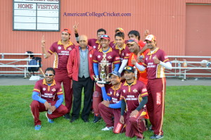 American College Cricket Mid West Champion, Iowa State Cylcones with Lloyd Jodah, Founder & President of American College Cricket & the Gordon Gee Trophy
