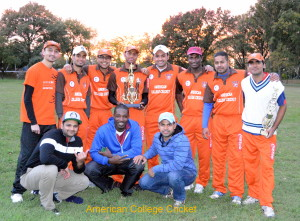 Rochester Institute of Technology (RIT Tigers), the 2014 American College Cricket North East Champion, with the Deryck Aaron Jodah Trophy !