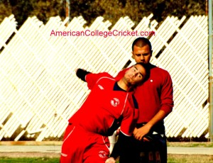 Shuja Navqi (UH Cougars) bowling at the American College Cricket SW Regionals at Texas A & M