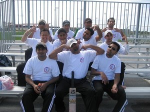 the first American College Cricket National Champion,2009 Montgomery College, with Tahir Chaudhery front right.