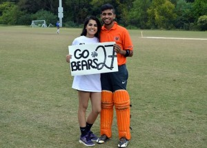 Mercer University CC President Sameer Anand, with supporter.