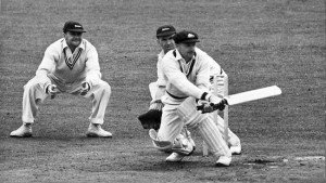 Don Bradman batting.