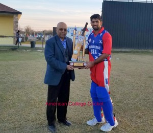 Saurabh receiving the Jodah 1844 from Lloyd for winning the 4th ACC USA vs Canada Series.