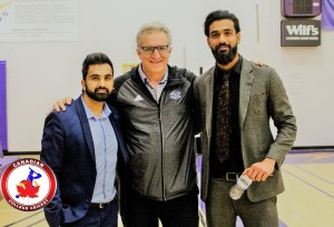 ANaeem (Laurier) on right with Hassan Mirza (Canadian College Cricket Pres.) & Peter Baxter (Ontario Univ. Athletics)